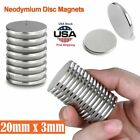 Powerful Disc Neodymium Magnets Adhesive Backing Rare Earth 20 x 3mm Magnet Lot