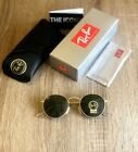 BRAND NEW RAY BAN Green Round G 15 Sunglasses Gold Color Frame RB3447