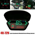 48 72V Motorcycle Scooter LCD Speed Indicator Mileage Gauge w Windshield Bracket