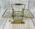 Vintage Atomic MCM Gold Metal Teak Wood Caddy With Tiered 3 Dish Relish Tray