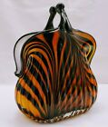 ART GLASS PURSE HANDBAG CLUTCH CASED VASE AMBER BLACK WHITE 85