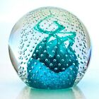 Caithness Art Glass Cauldron Bullicante Paperweight Swirling turquoise bubbles