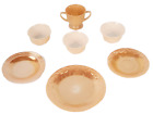 7pcs Misc Fire King Lusterware Peach Cups Saucers Plate Vintage Oven Luster