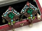 1950 EUGENE HASKELL SIGNED COLORFUL CRYSTAL POURED GLASS FLOWER CLUSTER EARRINGS