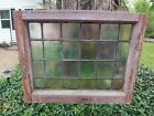 OLD ENGLISH LEADED STAINED GLASS WINDOW Oak Frame 22 x 18