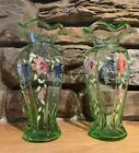 Beautiful Pair Of Vintage Hand Painted Glass Vases 8 Tall Light Green Tint