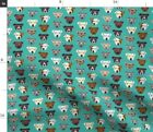 Pitbull Glasses Cute Dogs Pitty Turquoise Spoonflower Fabric by the Yard