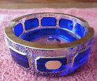 Vintage Bohemia Glass Cobalt Blue Ashtray Gold Cut Crystal 5 Made in Czech