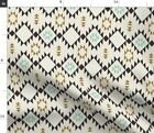 Gold Mint Triangles Tribal Native Aztec Navajo Spoonflower Fabric by the Yard