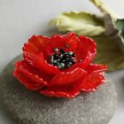 Red Poppy Flower Glass Bead Lampwork for Jewelry Making 1 PCS