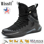 Mens Steel Toe Work Boots Safety Shoes Army Military Leather Walking Sneaker ESD