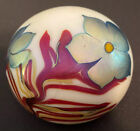 Pearlescent Orient Flume Iridescent Flower Paperweight 1975 Signed Numbered