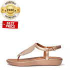 SALE Womens Tia Feather Metallic Leather Back Strap Sandals