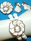 MINTY CROWN TRIFARI SIGNED MILK GLASS BRACELETPIN PENDANT AND EARRINGS EXC
