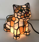 TIFFANY STYLE Stained Glass Bobble Head CAT LAMP Night Light w GREEN EYES 7 T