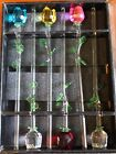 6 Spring Flowers Bouquet 6 Glass Roses with Green Leaves vase not included