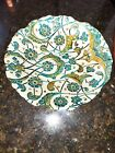 Moroccan Glass Centerpiece Bowl Decorative Teal Gold  Silver Detailed Florals