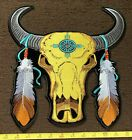 LARGE Native American Biker Bull Skull Embroidered Iron On Jacket Back Patch