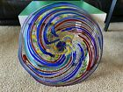 ROLLIN KARG Signed Dated Unique Hand Blown Glass Art Plate Platter Candy Dish