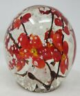 Vintage China Glass Paperweight Red Cherry Blossoms Flowers Murano