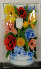 Peggy Karr glass tray Colorful flowers in blue  white vase w bird signed 2000
