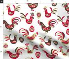 Retro Rooster Hen Egg Flower Vintage Animals Red Spoonflower Fabric by the Yard