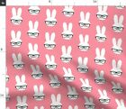 Bunny Glasses Pink Polka Dots Easter Cute Animals Spoonflower Fabric by the Yard