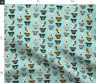 Pitbull Heads Glasses Cute Dogs Pitty Blue Spoonflower Fabric by the Yard