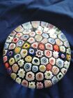 Large Size Baccarat Style Vintage Millefiori Glass Paperweight