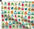 Monster Hipster Mustache Glasses Cute Wings Silly Spoonflower Fabric by the Yard