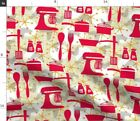 Kitchen Retro Palette Limited Mixer Pots Pans Spoonflower Fabric by the Yard