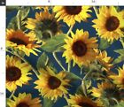 Sunflower Summer Floral Boho Bohemian Spoonflower Fabric by the Yard