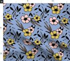 Floral With Hand Hand Drawn Floral Motif Gorgeous Spoonflower Fabric by the Yard