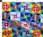 Geometric Squares Kaleidoscope Craft Multicolor Spoonflower Fabric by the Yard