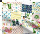 Floral Flowers Boho Cactus Native Aztec Spoonflower Fabric by the Yard