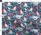 Woodland Animals Bear Cats Mother Nature Birth Spoonflower Fabric by the Yard