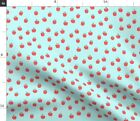 Fruit Apples Winter Fall Blue And Red Back To Spoonflower Fabric by the Yard