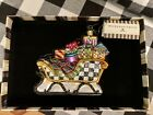 New in Box MACKENZIE CHILDS Holidays Sleigh Glass Ornament Made in Poland