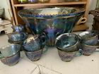 Blue carnival glass punch bowl