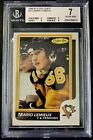 1986-87 O-Pee-Chee #122 Mario Lemieux Graded 7 Pittsburgh Penguins BGS OPC SP 66