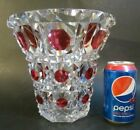RARE Signed VAL ST LAMBERT Cranberry Cut to Clear BIG 9 Crystal Art Glass Vase