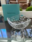 Tiffany  Company Co Lead Crystal Cut Glass Bowl With Etched Leaves