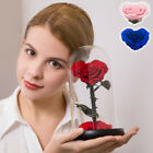 Heart shaped Preserved Rose In Glass Dome Eternal Rose Birthday Gifts for Her