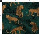 Leopard Exotic Jungle Black Green Animal Africa Spoonflower Fabric by the Yard
