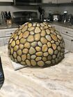 Vintage Large Table Lamp Shade Tiffany Stained Glass Style Natural Stone Rare