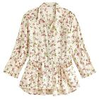April Cornell Womens Floral Tunic Pink Flowers on White Top Roll Tab Sleeves
