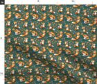 Foxes Fox Limited Color Palette Autumn Leaves Spoonflower Fabric by the Yard