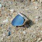 Authentic Aqua Blue Sea Glass  Sterling Silver Ring Size 7