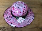 Murano Style Hand Blown Art Glass Pink White Speckled Hat Flower