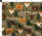 Canadian Creatures Nature Animal Bear Print Fox Spoonflower Fabric by the Yard